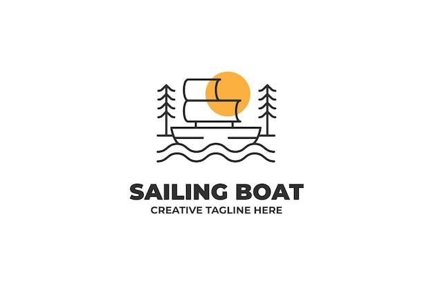 Bateau à voile nautique monoline logo