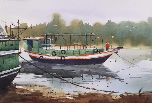Bateaux dessinés à la main à l'aquarelle et illustration de l'homme sur la rivière