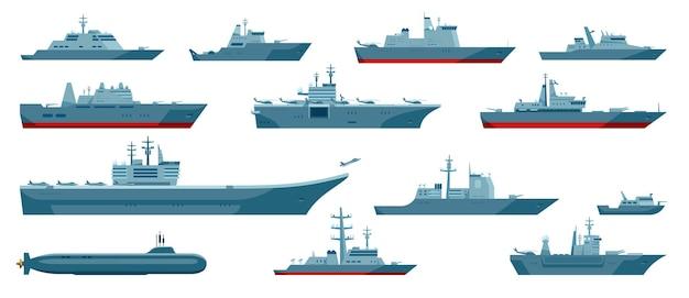 Bateaux militaires navire de guerre marine frégate cuirassé sous-marin navire de guerre ensemble
