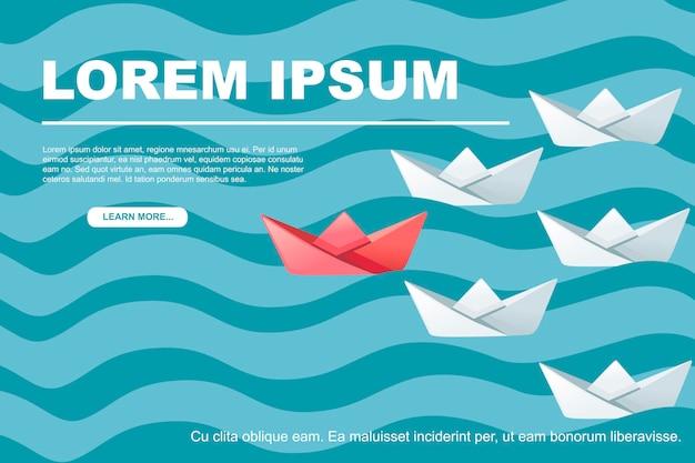 Bateaux en papier plié sur les vagues de l'eau à la suite de l'illustration vectorielle plane du concept abstrait du leader.