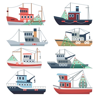 Bateaux de pêche en mer