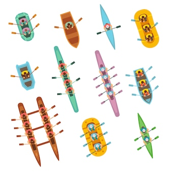Bateaux de sport d'aviron vue de dessus avec l'équipe jeu de vecteur. équipe de bateau de sport nautique
