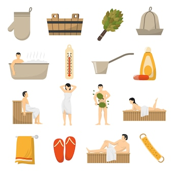 Bath sauna spa flat icons set
