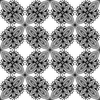 Batik indonésien, modèle sans couture de batik noir et blanc, est une technique de teinture à la cire appliquée à un vêtement entier