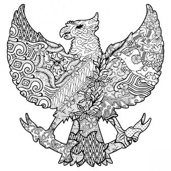 Batik sur la silhouette de garuda