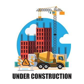 Bâtiment en arrière-plan du site de construction