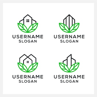 Bâtiment d'art en ligne, maison, maison avec modèle de conception de logo de concept de feuille