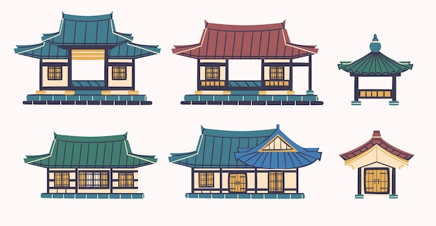 Bâtiment asiatique hanok dans un ensemble de conception de dessins animés