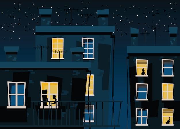 Bâtiment aux nuits vector illustration