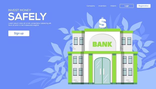 Bâtiment de la banque dans l'espace de la ville avec route sur le concept de fond plat syle