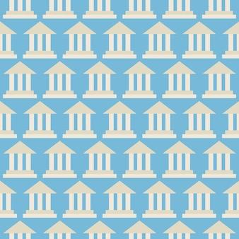 Bâtiment de la banque de l'école du gouvernement de modèle sans couture de vecteur plat. fond de texture transparente de vecteur de style plat. modèle de bureau d'affaires et d'éducation. retour à l'école. architecture bâtiment