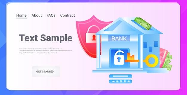 Bâtiment de la banque sous protection grand bouclier de sécurité assurance des biens couverture complète concept de paiement sécurisé illustration de l'espace copie horizontale