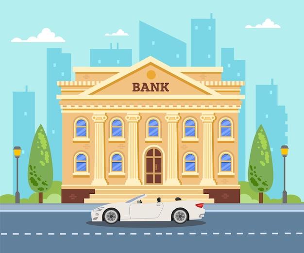 Bâtiment de la banque sur la ville voiture blanche près de la banque