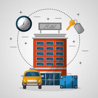 Bâtiment, bâtiment, taxi, valise, service, vecteur, illustration
