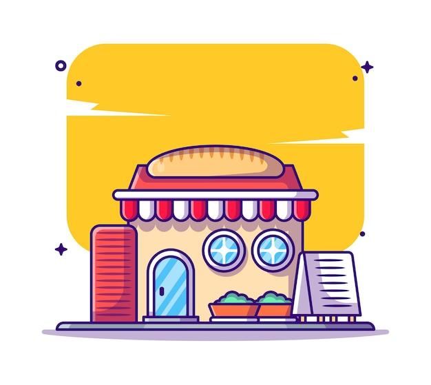 Bâtiment de boulangerie et illustration de dessin animé de point de repère
