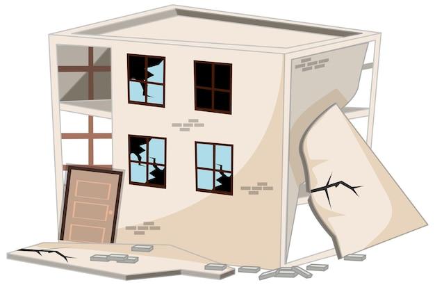Bâtiment cassé endommagé par un tremblement de terre isolé sur fond blanc