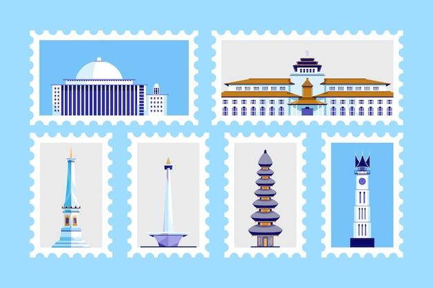 Bâtiment célèbre en indonésie. conception de timbres-poste.