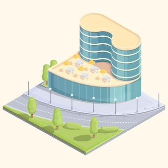 Bâtiment de centre d'affaires isométrique de dessin animé avec rue, illustration vectorielle