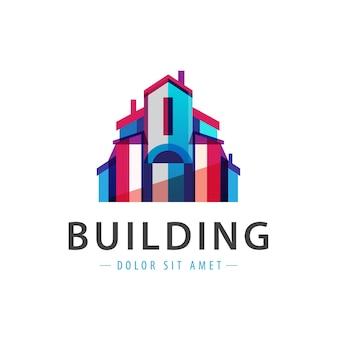 Bâtiment coloré, maison, logo d'entreprise isolé