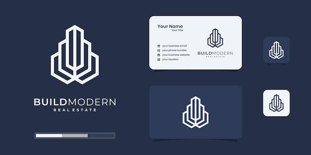 Bâtiment avec concept de ligne. résumé de la construction de la ville pour l'inspiration du logo.