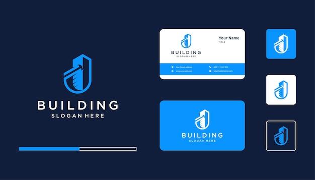 Bâtiment avec la conception initiale du logo j et hammer pour l'immobilier, la construction