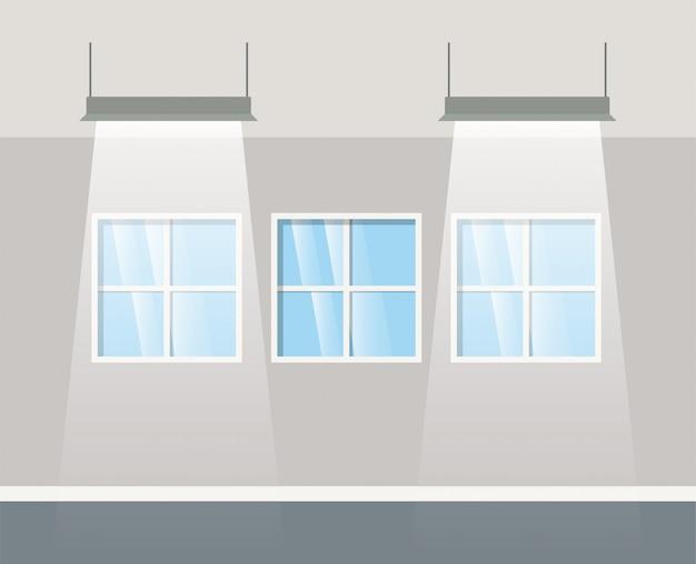 Bâtiment de couloir avec lampes suspendues