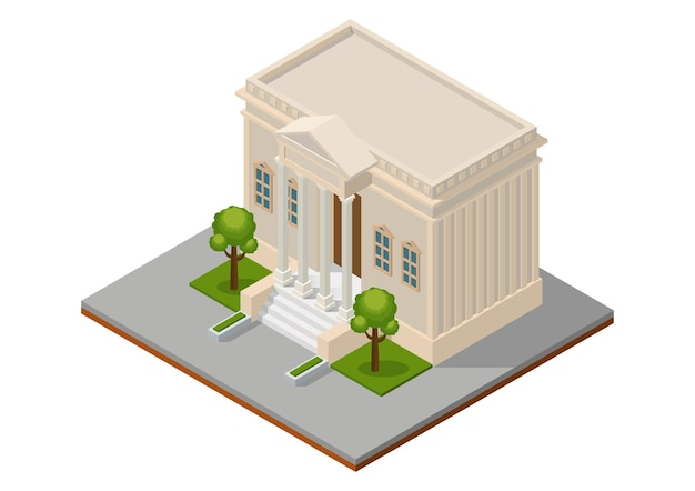 Bâtiment de la cour isométrique. bâtiment public d'architecture de la ville.