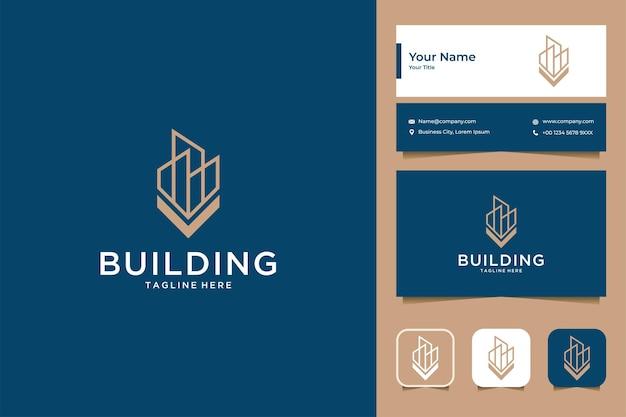 Bâtiment avec création de logo lettre v et carte de visite
