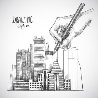 Bâtiment de dessin à la main