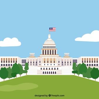 Bâtiment du congrès américain avec design plat