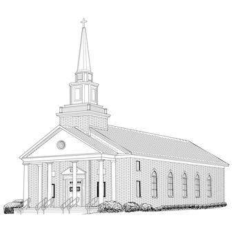 Bâtiment de l'église dessiné à la main
