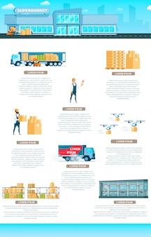 Bâtiment d'entrepôt. bannière d'infographie de service