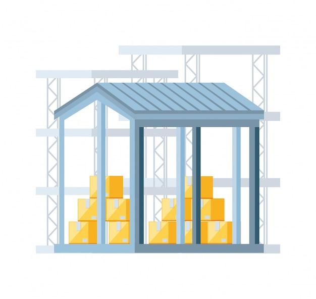 Bâtiment d'entrepôt avec des boîtes de livraison