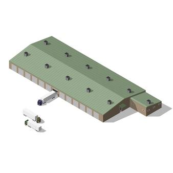 Bâtiment d'entrepôt isométrique.