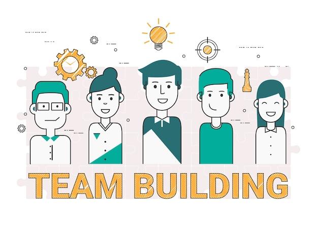 Bâtiment de l'équipe des gens d'affaires.