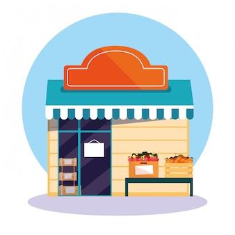 Bâtiment de la façade du magasin de fruits frais