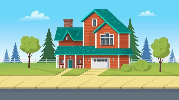 Bâtiment de façade, maison de banlieue avec garage et pelouse verte. illustration de dessin animé de vecteur pour les jeux ou l'animation.