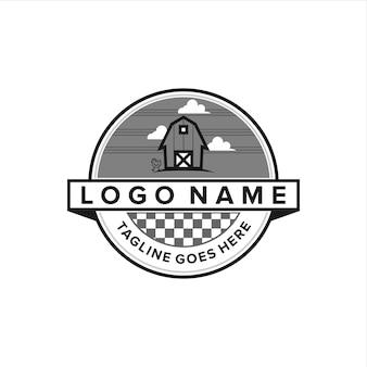 Bâtiment de ferme avec emblème de nuage de ciel vintage simple création de logo géométrique élégant