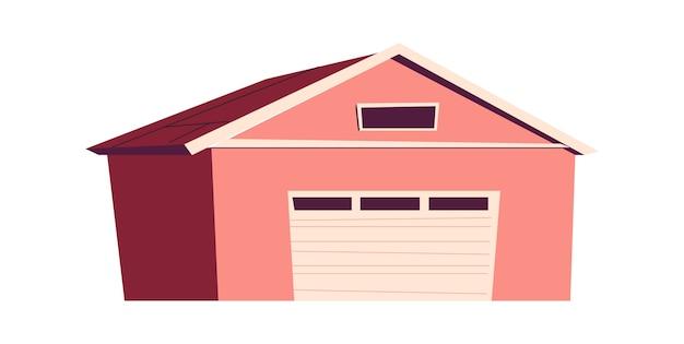 Bâtiment, garage, illustration de dessin animé de hangar