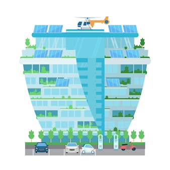 Bâtiment de gratte-ciel moderne avec hélicoptère sur le toit, batteries solaires, plantes, station de recharge pour voitures électriques sur le parking. ville intelligente. illustration plate isolée sur blanc.