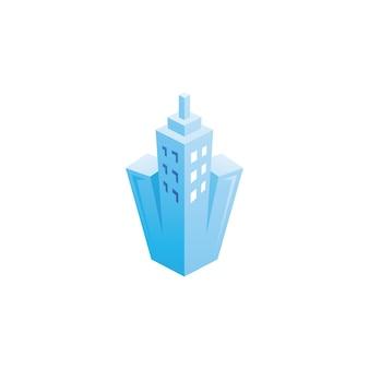 Bâtiment gratte-ciel ville logo
