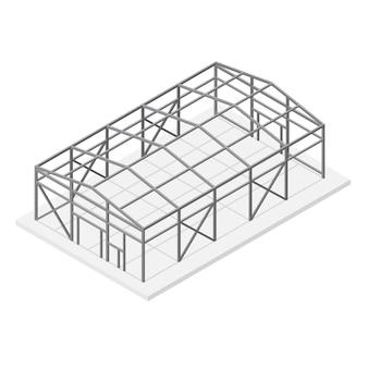 Bâtiment hangar ou entrepôt toit à ossature de construction métallique et vue isométrique de soutien.