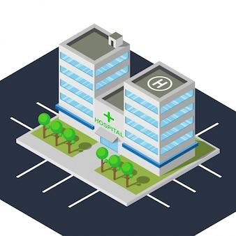 Bâtiment de l'hôpital avec un design plat et isométrique