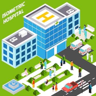 Bâtiment hospitalier isométrique