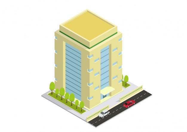 Bâtiment hôtelier, appartement ou gratte-ciel isométrique vectoriel