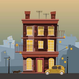 Bâtiment en illustration vectorielle de ville
