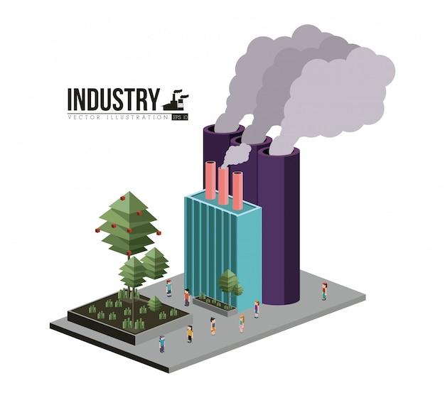 Bâtiment d'industrie isométrique