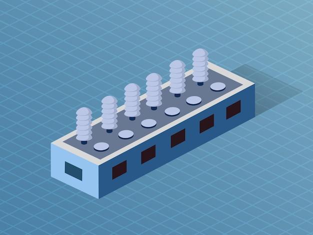 Bâtiment industrie d'usine dimensionnelle 3d isométrique de l'architecture moderne de la construction urbaine.
