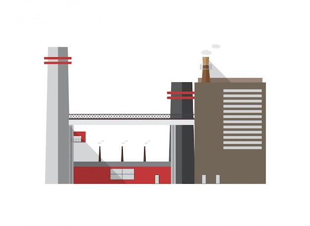 Bâtiment industriel urbain avec des tuyaux émettant du gaz isolé