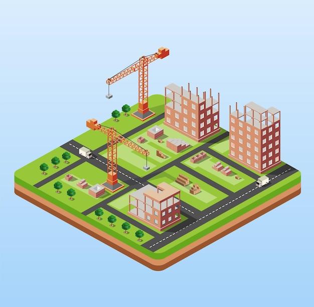 Bâtiment industriel de la ville avec des grues de construction et des maisons de construction, une voiture en perspective isométrique